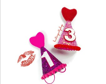 Heart Hat || Dog Party Hat ||  Valentine Accessory ||February Birthday || Pink and Red || Love