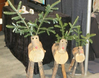 Log Reindeer Family (1 each Small, Medium and Large)
