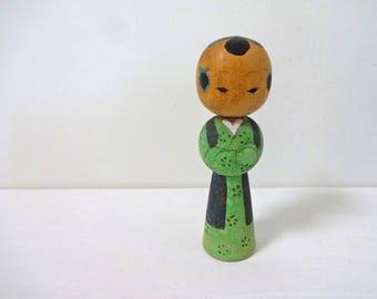 3.4inch Vintage Japanese Miniature Wood KOKESHI Doll