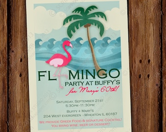 Flamingo Beach Party Invitation - Palm Trees, Ocean, and Sand - Vintage Flamingo Party Invitation