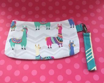 Handmade Wristlet Bag Purse Llama's