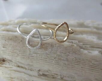 Gold teardrop ring, silver teardrop ring, teardrop midi ring, teardrop knuckle ring, teardrop mid ring