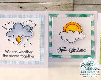 set of 4 notecards, everyday sentiments, hand stamped