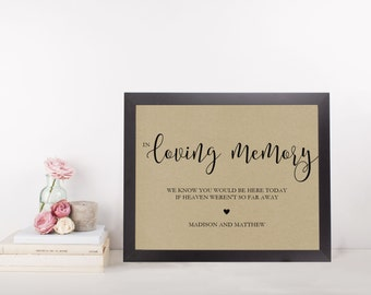 Wedding Sign Template | In Loving Memory Sign | Wedding Sign | Printable Wedding Sign | 5x7 & 8x10 | EDN 5423