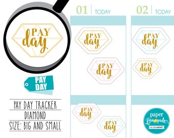 Planner Stickers pay day planner sticker payday tracker diamond payday planner sticker removable stickers for kikki k filofax S031-PAY