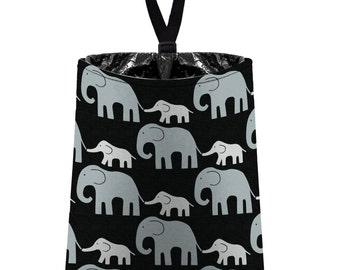 Car Trash Bag // Auto Trash Bag // Car Accessories // Car Litter Bag // Car Garbage Bag - Elephants (grey on black) // Car Organizer