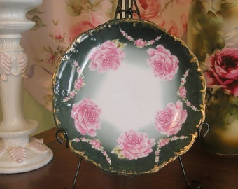 Gorgeous Pink Cabbage Roses Porcelain Hand Painted Decorative Plate