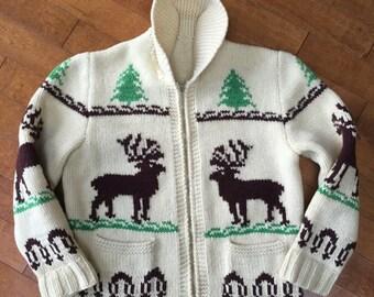 Vintage 70's Hand Knit 100% wool cardigan