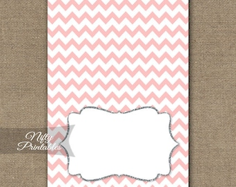 Pink Food Tents - Pink Place Cards - Pink Silver Party Decor - Pink White Chevron Buffet Cards - Printable Pink Baby Bridal Tent Cards PCH