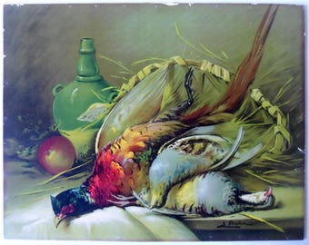 Color lithography print, Still Life print , Game birds , Antique litho print  , Old print , Still life art