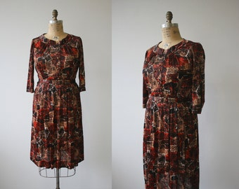 vintage 1960s dress / 50s 60s brown nylon dress / 60s day dress / autumn foliage dress / plus size 1950s dress / sz xl extra large