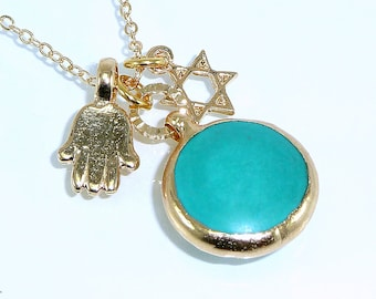 Charm Hamsa Necklace, Turquoise  Necklace, December  Birthstone, Long Turquoise Necklace, Delicate 24k Gold Star Of David Necklace.