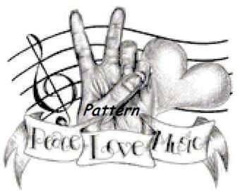 Peace, Love, Music. Cross Stitch Pattern. PDF Files.