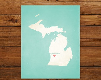 Customized Printable Michigan State Map - DIGITAL FILE, Aged-Look Personalized Wall Art