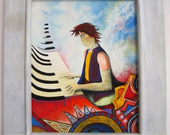 "Contemporary painting ""Pianist"" framed and signed Massart. In France.made France.francais ARTISTS"