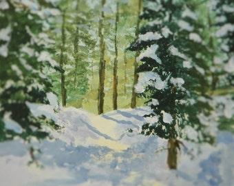 PEACEFULL WINTER LANDSCAPE  Original Landscape Painting Snow Woodland Woods Forest Sunlight Fir trees  Maine Artist