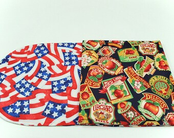 Red Apples/4th of July Table Runner, Summer/Fall Table Cover, Red White and Blue/Apples Table Cloth, 42 in. x 11 in.