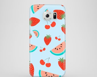 Fruit Salad phone case, baby blue Samsung Galaxy case, Samsung Galaxy S7, Samsung Galaxy S6, Samsung Galaxy S6 Edge, S5, iPhone X, iPhone 8
