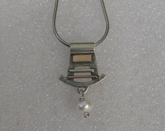 Asia Design Necklace Sterling Goldfill Pearl Mixed Metal
