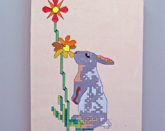 Original acrylic painting on wood: Bunny with flower