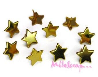 Set of 10 gold stars 13 mm embellishment scrapbooking brads *.