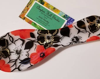 Fused Glass Spoon Rest - Mod Flowers