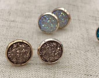 rose gold druzy earrings, Faux Druzy stud earrings, Druzy stud earrings, Boho Jewelry, Rose gold druzy earrings