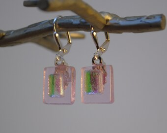 Pink on Pink Fused Dichroic Glass Earrings