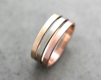 Gold Wedding Band Stacking Rings, Mixed Metal 2mm Recycled 14k Yellow, Rose Gold, Palladium White Gold Rings Wedding Rings -  Made to Order