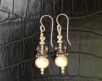 pearl and Swarovski crystal earrings