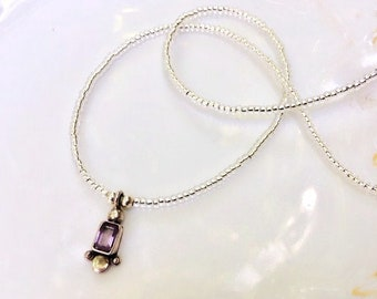 Amethyst & Sterling Silver Charm Beaded Necklace, Seed Bead Necklace, Gemstone Necklace, Amethyst Jewelry, Seed Bead Jewelry, Dainty Jewelry