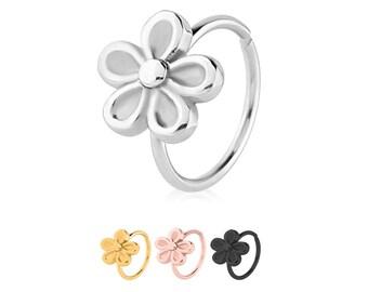 """316L Surgical Steel, Black, Gold, Rose Gold, Nose Ring Hoop Daith Helix Ear Cartilage Flower Hoop Choose Your Color 5/16"""" 20G"""