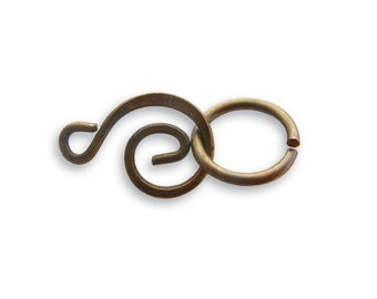 4 Sets  21x9mm Swirl Clasp Sets by Vintaj Natural brass item CL60