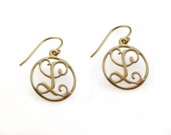 """14k Monogram earrings. Gold monogram earrings. 0.6"""" monogram earrings. Personalized earrings. Monogram jewelry. Personalize jewelry"""