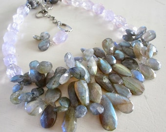 Rock Candy Labradorite & Lilac Amethyst LUXE Necklace - Gemstone Multi Strand - Etsy Jewelry - catROCKS - Grace and Frankie - Statement