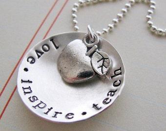 love inspire teach necklace - teacher gift