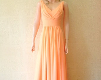 Peach Prom Dress. Peach Bridesmaid Dress. Maxi Dress.