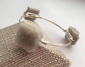Druzy Wire Wrapped Bangle, Wire Wrap Bangle, Wire Bangle, Wire Wrapped Bracelet, Wire Wrap Bracelet, Bangle
