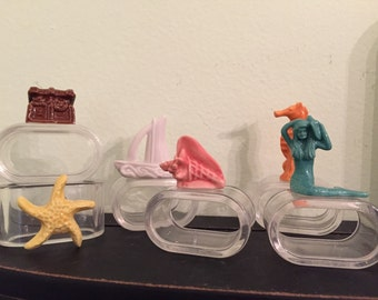 Lucite Napkin Rings Wade Collectibles Beach Decor Mermaid, Shell, Treasure Chest, Starfish, Seahorse and more at A Vintage Revolution