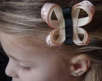 Hair Bow - Light Pink and Cream Butterfly Ribbon Sculpture