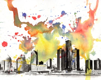 Detroit Skyline Art Print From Original Watercolor Painting Art Print Detroit Painting Art Print Detroit Wall Art Decor Detroit Cityscape