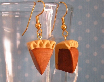 Pumpkin Pie Earrings Handmade Polymer Clay Dangle or Posts Pierced or Clip