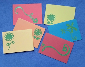 Six Rainbow Floral Mini Cards Gift Tags with glitter flower accents