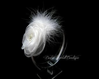 White Chiffon Flower and Feather Girl,Toddler,Bridal Hard Headband
