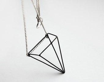 RESERVED Pyramid Illusion . sterling silver necklace with oxidized pendant