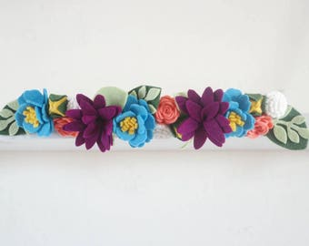 Felt Floral Crown Headband in Ocean Blue