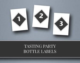 printable tasting bottle number tags | blind tasting labels | growler tag | tasting party | instant download