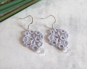 Silver Lace Earrings - Beaded Tatted Lace Earrings - Silver, Grey - Alexandra