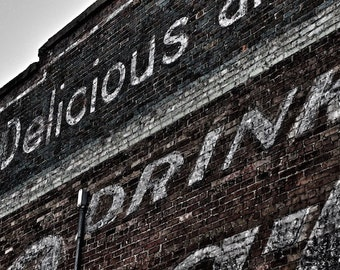 Urban Photo Vintage Coca Cola Advertisement Asheville Art, Kitchen Wall Decor, Old Coke Ad, Digital Photography