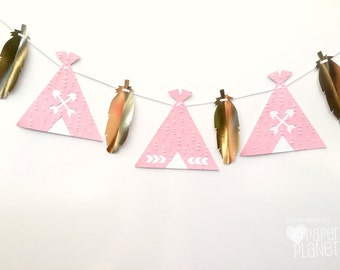 Pink Teepee and feather banner. Pink and gold. Photo Prop, Birthday party garland, bunting, baby shower. Boho Tribal Wilderness. Wild One.